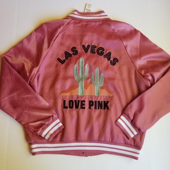 09087d99d VS PINK Las Vegas Begonia Satin Bomber Jacket M NWT